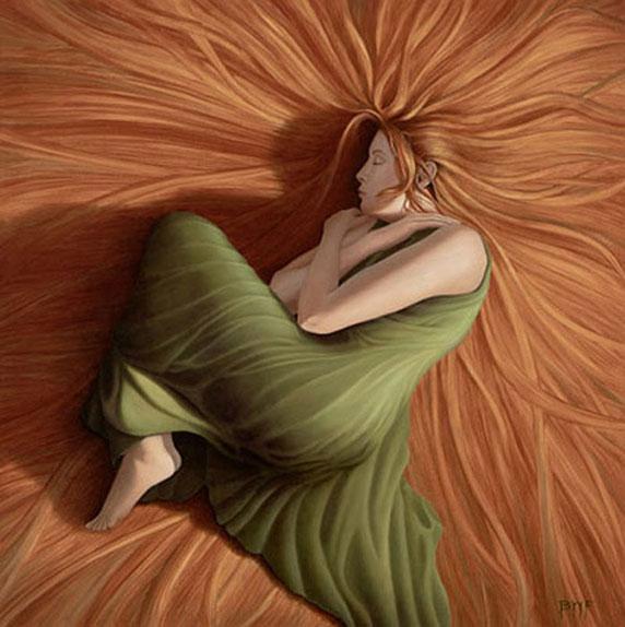 Une femme endormie, peut-être rêvant (Big Hair, by Blake Flynn)