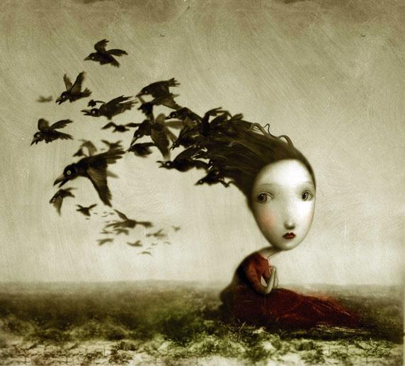 Dessin d'une jeune fille mélancolique avec des oiseaux (Titre: Crows, Auteur: Nicoletta Ceccoli)