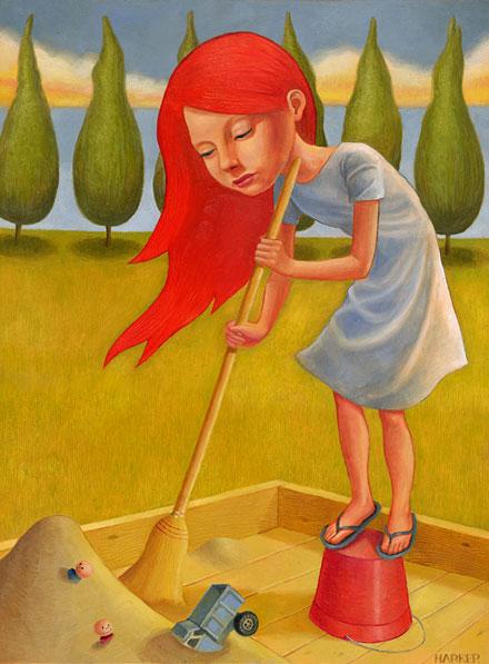 Illustration d'une jeune fille balayant le sable d'un bac à sable (Titre: 'Everything in its Right Place', Auteur: 'Jim Harker')