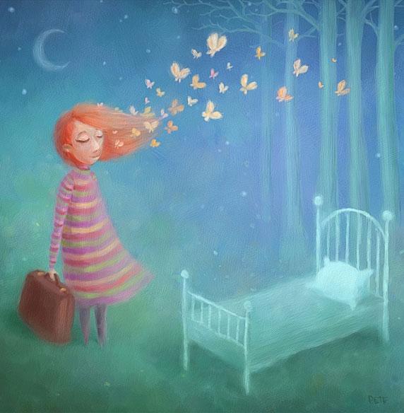 Illustration d'une femme sur le point de commencer une nouvelle étape (Titre: Going to Sleep, Auteur: Pete Revonkorpi)