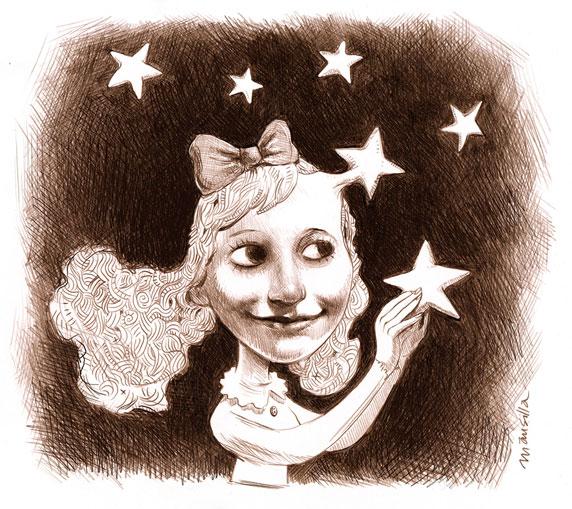 Dessin d'une jeune fille entourée d'étoiles (Titre: La vie est un songe, Auteur: Santiago Mansilla)