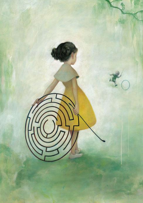 Dessin d'une fillette et d'un labyrinthe (Titre: Maze, Auteur: James Jean)