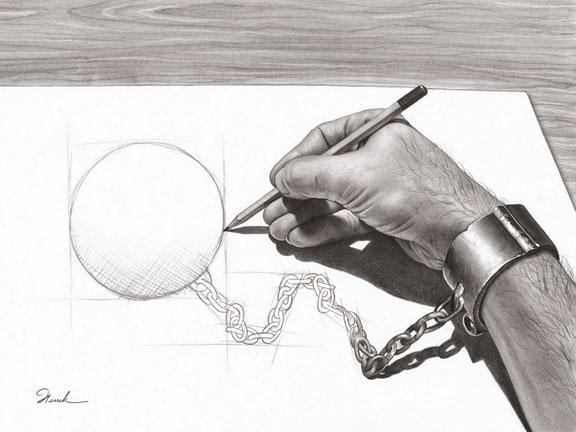 Dessin d'une main qui dessine ses propres fers (Titre: Prisoner of my own, Auteur: Henrik Moses)