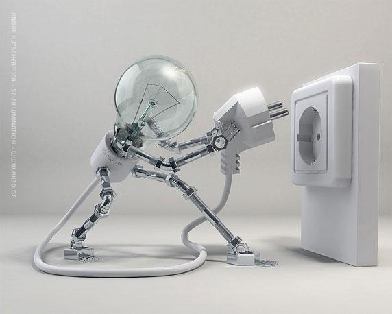 Illustration en 3D d'une lampe électrique en train de s'auto-connecter (Titre: Selfillumination; Auteur: André Kutscherauer)