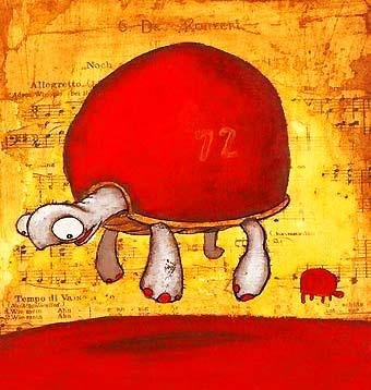Illustration d'une tortue en lévitation (Titre: Show floaters, Auteur: Johan Potma)