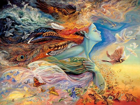 Illustration d'un esprit féminin qui représente le vol et le vent (Titre: The Spirit of Flight, Auteur: Josephine Wall)